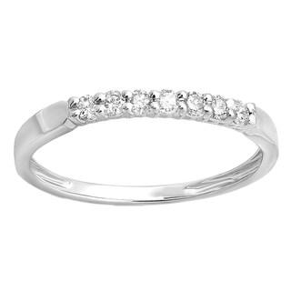 10k White Gold 1/4ct TDW Diamond 7-stone Wedding Band Stackable Ring (I-J, I2-I3)