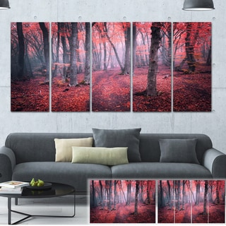 Designart 'Mysterious Fairytale Red Wood' Landscape Photo Canvas Print