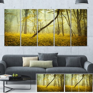 Designart 'Forest with Yellow Flowers' Landscape Photo Canvas Print