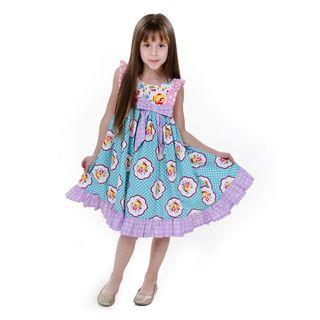 Jelly the Pug Girls' Kelly Sleeveless Round Neck Dress