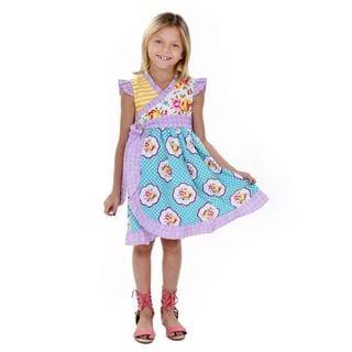 Jelly the Pug Girls' Misha Cap Sleeve V-Neck Dress