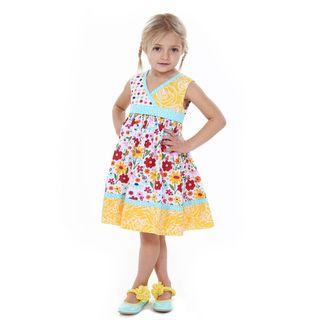 Jelly the Pug Girls' Abbey Sleeveless V-Neck Dress