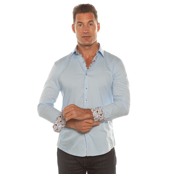 Isaac B. Solid Light Blue Long Sleeve Button Down Shirt
