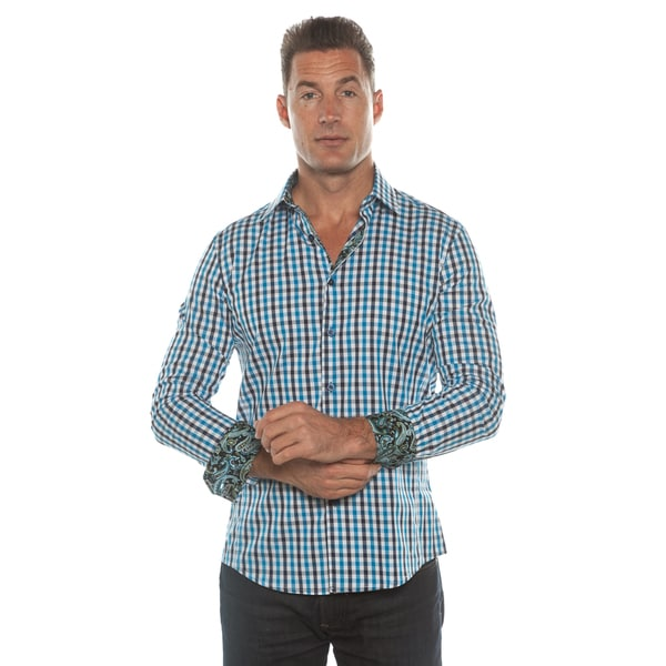 Isaac B. Blue Plaid Long Sleeve Button Down Shirt