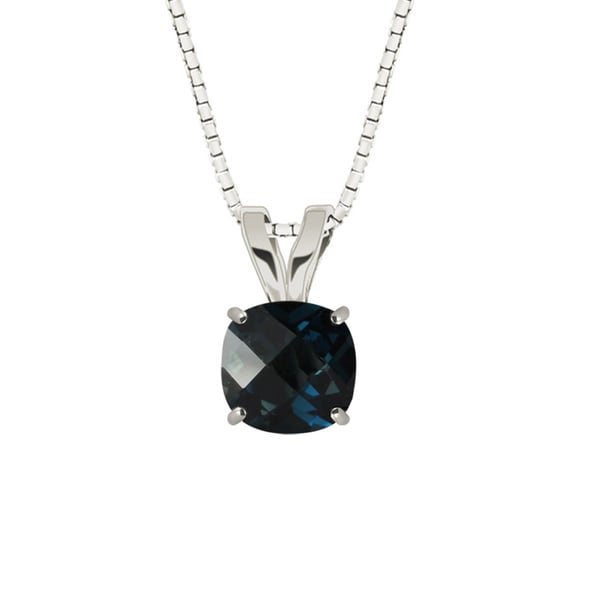 Sterling Silver Checkerboard Cushion 8mm London Blue Topaz Pendant Necklace