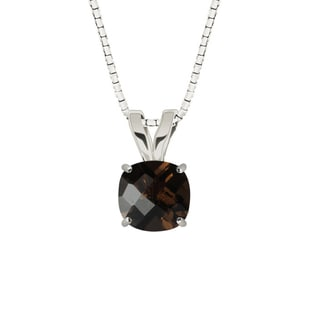 Sterling Silver Checkerboard Cushion 8mm Smoky Quartz Pendant Necklace