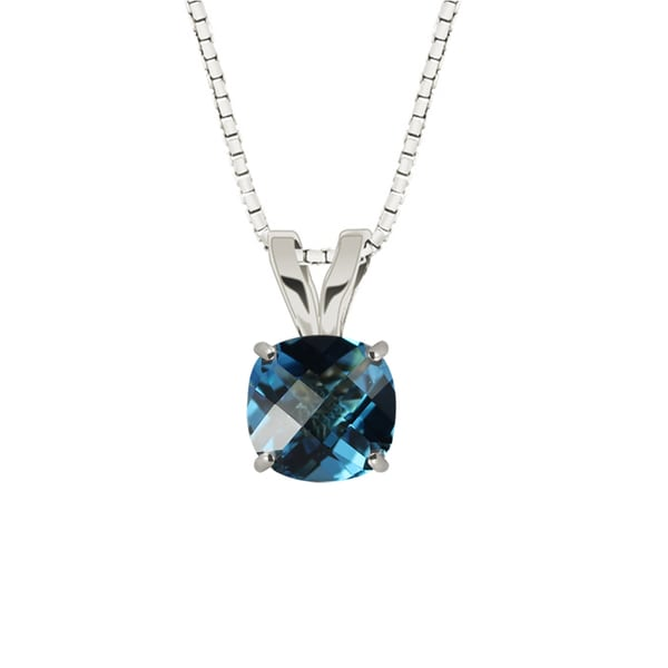 Sterling Silver Checkerboard Cushion 8mm Swiss Blue Topaz Pendant Necklace
