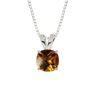 Sterling Silver Checkerboard Cushion 8mm Citrine Pendant Necklace