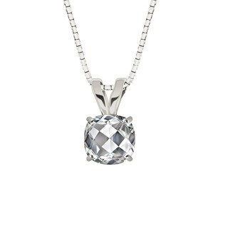 Sterling Silver Checkerboard Cushion 8mm Genuine White Topaz Pendant Necklace
