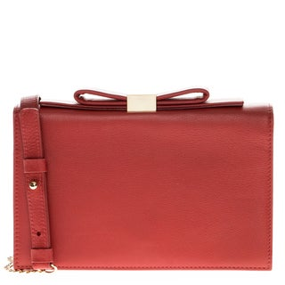 See by Chloe Flap-Top Red Shoulder Bag with Bow Detail