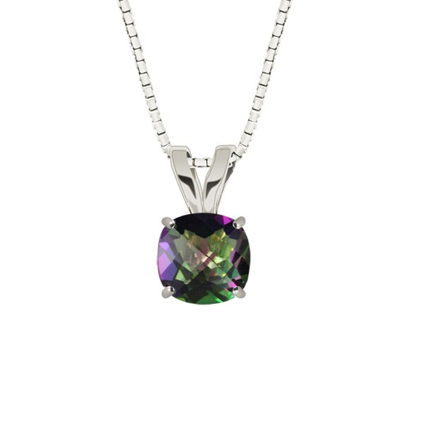Sterling Silver Checkerboard Cushion 8mm Mystic Topaz Pendant Necklace