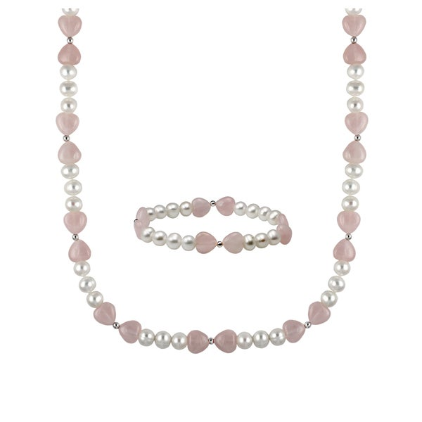 Sterling Silver White Freshwater Cultured Round Pearl and Heart Shape Rose Quartz Necklace and Bracelet Set