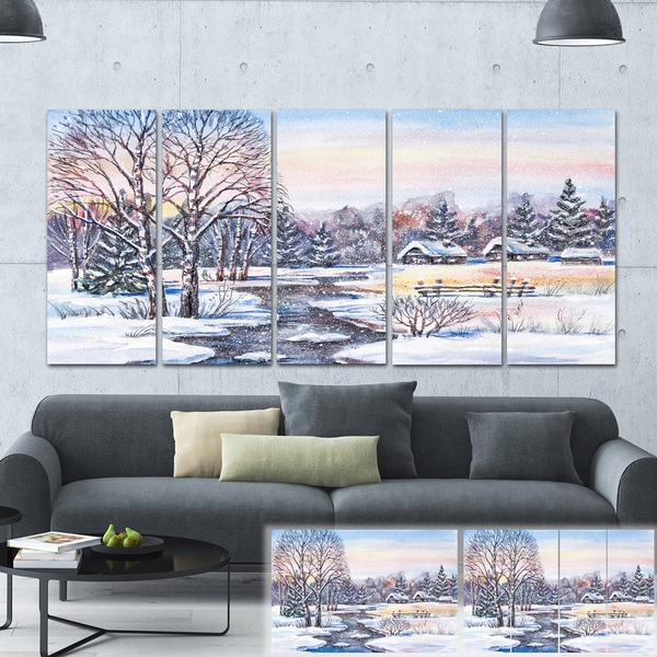 Designart 'Russian Winter Village' Landscape Photo Canvas Print