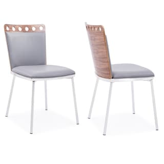 Armen LivinArmen Living Brooke Dining Chair in Brushed Stainless Steel finish with Grey PU upholstery and Walnut Back (Set of 2)