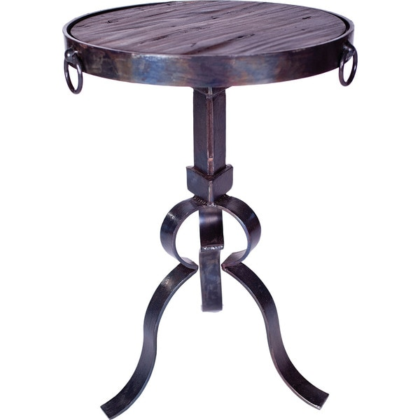 Round Iron Accent Table with Wood Top