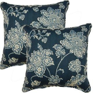 Everard Damask Indigo 17-inch Corded Throw Pillows (Set of 2)