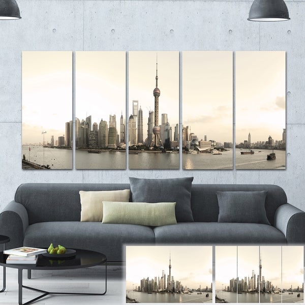 Designart 'Shanghai's Modern Architecture' Cityscape Photo Large Canvas Print