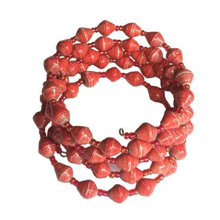 Spiral Recycled Paper Light Red Bracelet (Uganda)