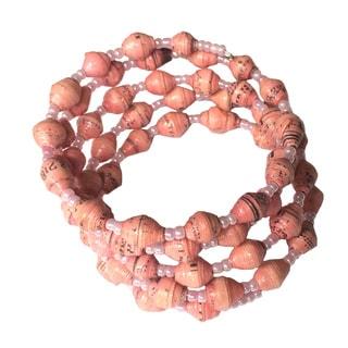 Spiral Recycled Paper Pink Bracelet (Uganda)