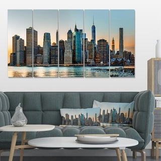 Designart 'New York City Skyline' Photography Large Canvas Print