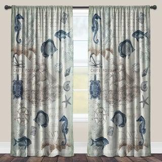 Laural Home Vintage Seaside Maritime Sheer Window Curtain (Single Panel)