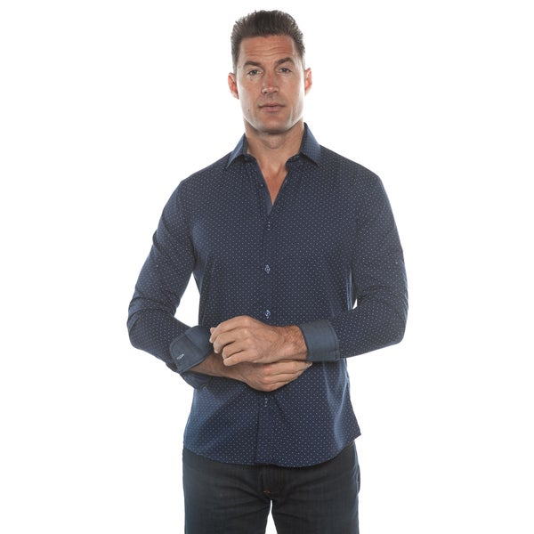 Isaac B. Blue Polka Dot Long Sleeve Button Down Shirt
