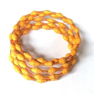 Spiral Recycled Paper Orange Bracelet (Uganda)