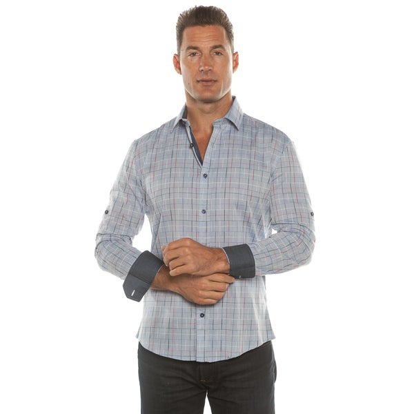 Isaac B. Blue/ Grey Plaid Long Sleeve Button Down Shirt