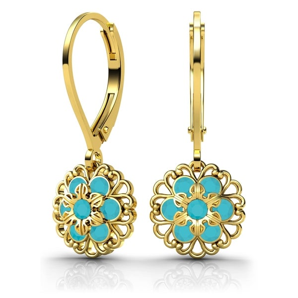 Lucia Costin .925 Silver, Turquoise Austrian Crystal Earrings 18100409
