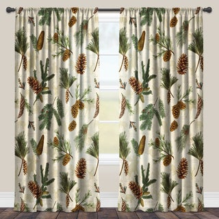 Laural Home Evergreen Pinecones Sheer Curtain Panel (Single Panel)