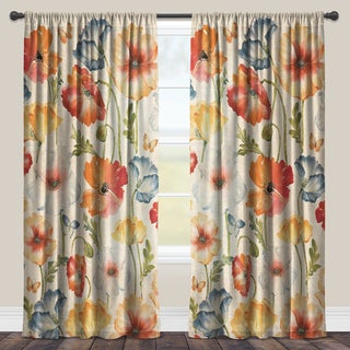 Laural Home Colorful Poppies Sheer Curtain Panel (Single Panel)