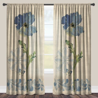 Laural Home Blue Poppies Sheer Curtain Panel (Single Panel)