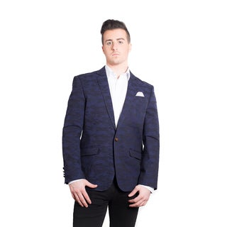Elie Balleh Men's Milano Italy Navy Camouflage Slim Fit Jacket