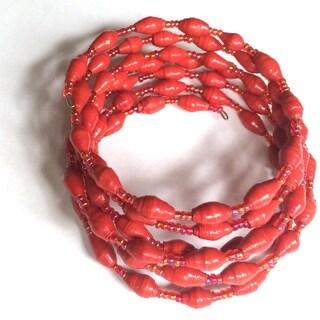Spiral Recycled Paper Red Bracelet (Uganda)