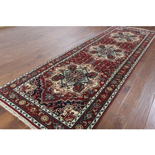 Hand-knotted Serapi Red Runner Rug (4'1 x 12'2)