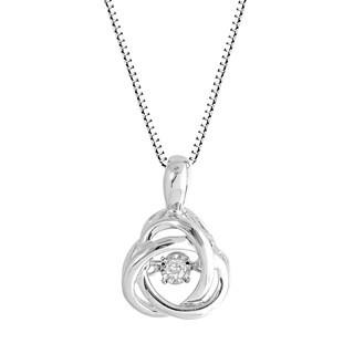 Sterling Silver Love Knot 'Dancing' Diamond Pendant
