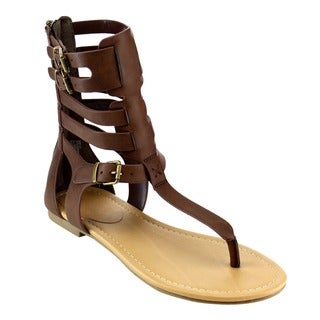 Beston IA56 Women's T-strap Caged Gladiator Buckled Flat Thong Sandals