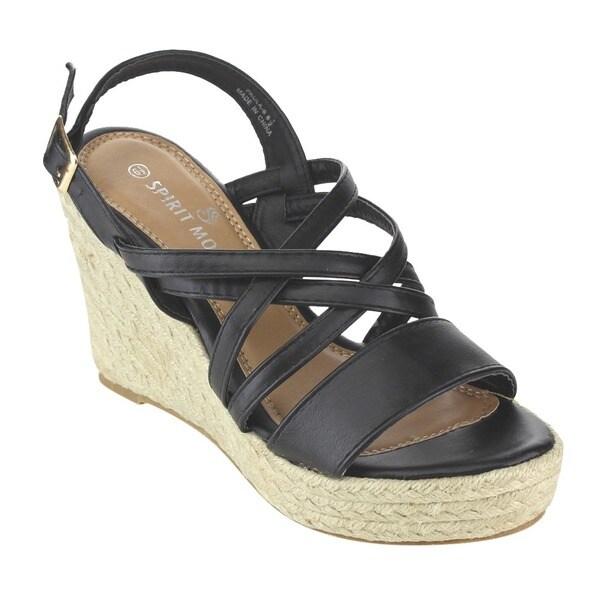 Spirit Moda FB28 Women's High Heel Platform Strappy Vamp Espadrille Wedges Sandals
