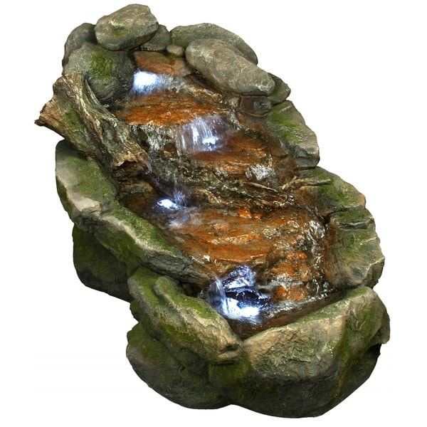 Cascading Rock Fountain with White LED Lights