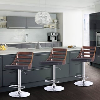Armen Living Storm Adjustable Swivel Barstool in Chrome finish with Walnut wood and PU upholstery (Color options)