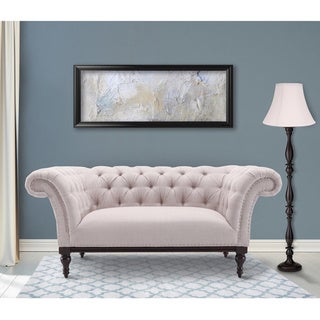 Armen Living Avery Loveseat in Sand Fabric with Dark Brown Legs