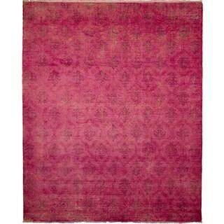 Overdyed Fine Oushak Sanaz Pink Hand-knotted Rug (9' x 12')
