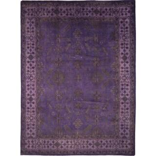 Overdyed Oushak Karima Purple Hand-knotted Rug (9'1 x 11'8)