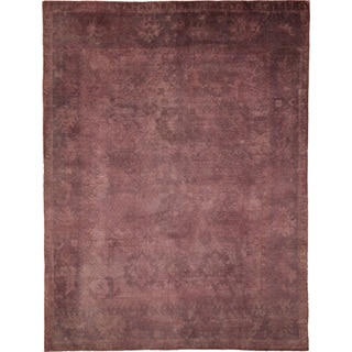 Overdyed Oushak Fahd Purple Hand-knotted Rug (9'1 x 11'10)