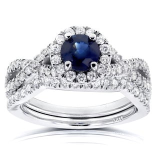 Annello 14k White Gold Round Sapphire and 3/4ct TDW Halo Diamond Crisscross 2-piece Bridal Set (G-H, I1-I2)