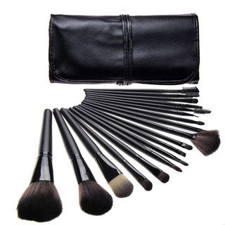 Bliss and Grace Professional 18-piece Black Makeup Brush Set with Vegan Leather Travel Case