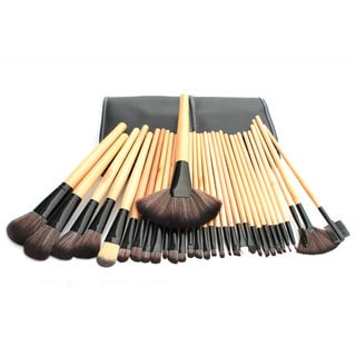 Bliss and Grace Professional 32-piece Wood Makeup Brush Set with Vegan Leather Travel Case