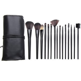 Bliss and Grace Professional 15-piece Black Makeup Brush Set with Vegan Leather Travel Case