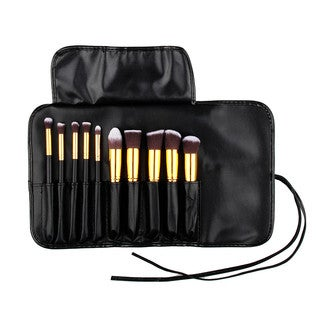 Bliss and Grace 10-piece Gold Kabuki Brush Set with Vegan Leather Travel Case