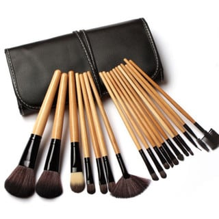 Bliss and Grace Professional 18-piece Wood Makeup Brush Set with Vegan Leather Travel Case